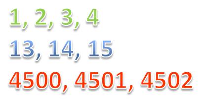 отрезки натурального ряда чисел